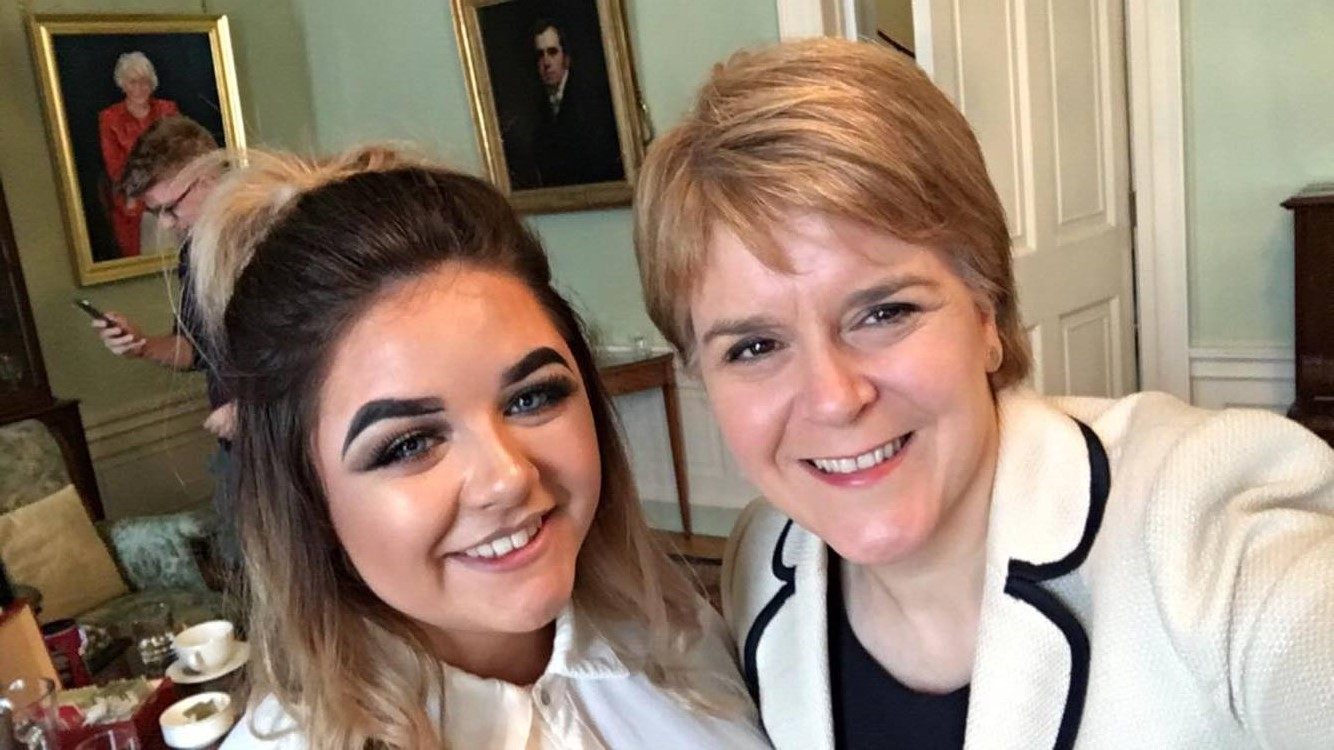 New College Lanarkshire student Shaddelle Brown with First Minister Nicola Sturgeon at Bute House.jpg