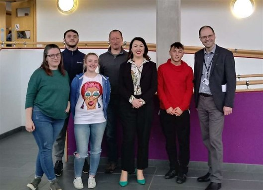 New College Lanarkshire students and Monica Lennon MSP